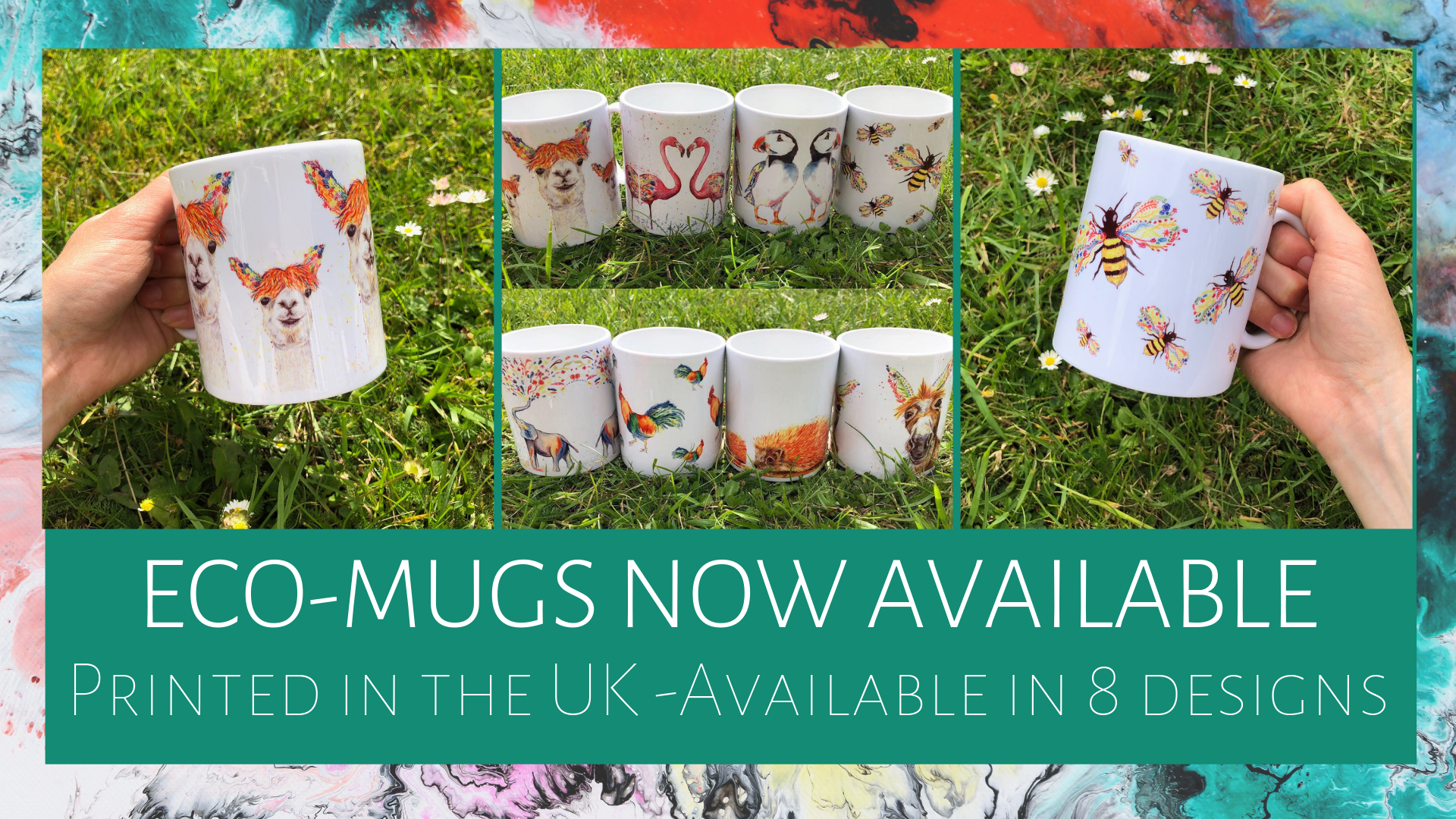 Eco mugs now available. Printed in the UK and available in 8 designs