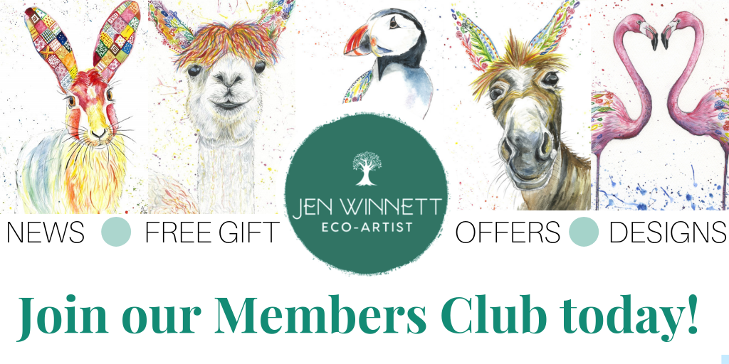 members club jen winnett art newsletter offer free gift designs llama alpaca donkey puffin flamingo hare